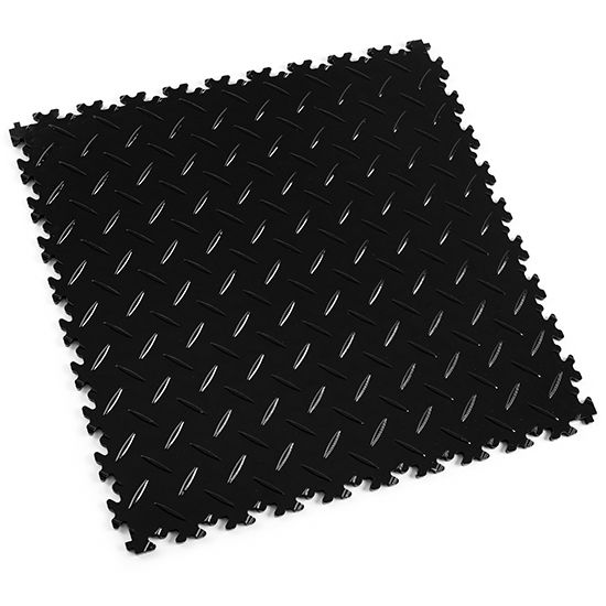 Black Diamond Plate - Motolock Interlocking Floor Tile