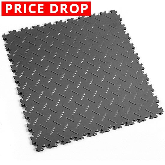 Dark Grey Diamond Plate - Motolock Interlocking Floor Tile