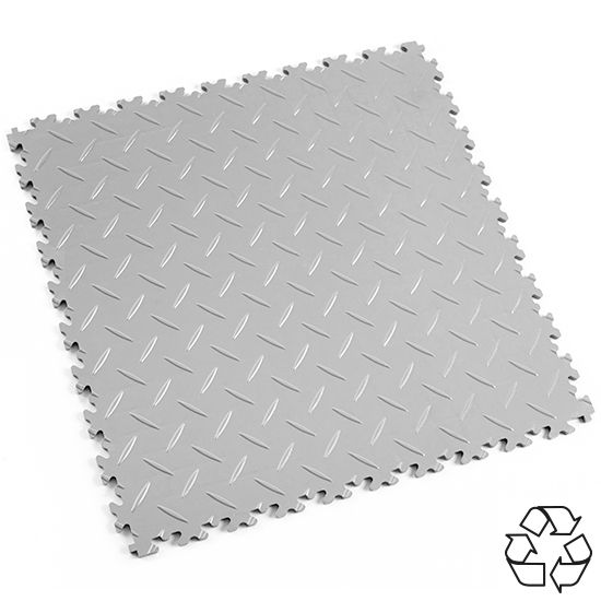Light Grey Recycled Diamond Plate - Motolock Interlocking Tile | Mototile Shop