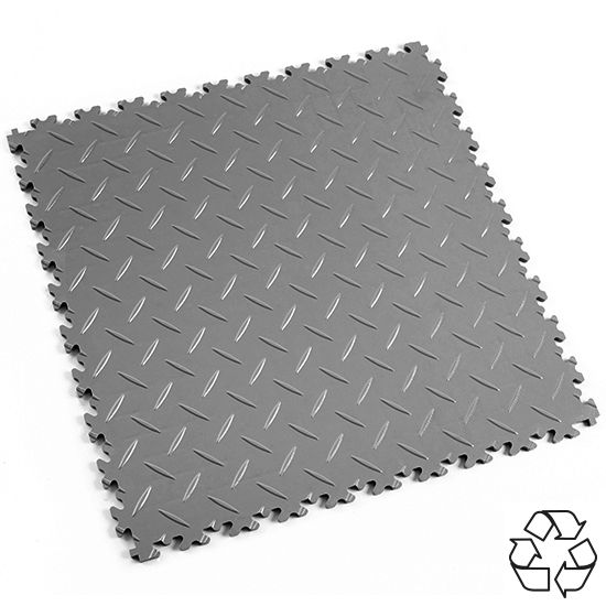 Mid Grey Recycled Diamond Plate - Motolock Interlocking Tile