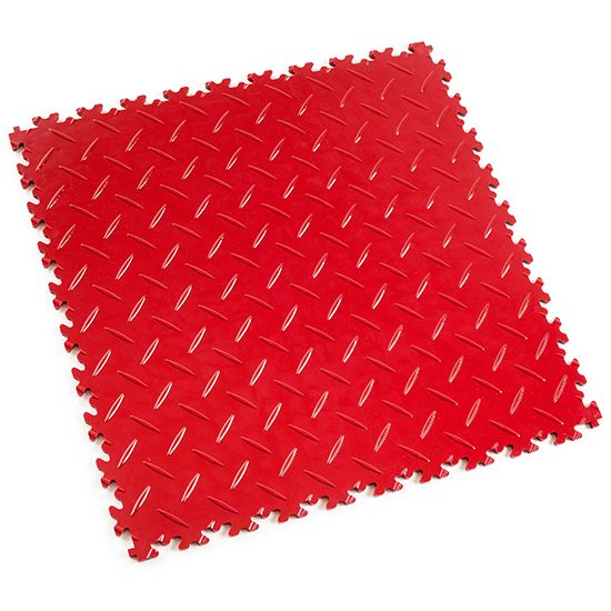 Red Diamond Plate - Motolock Interlocking Floor Tile